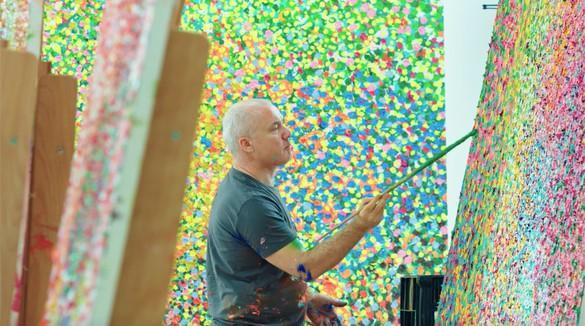 Damien Hirst working on Veil paintings in his London studio, 2017