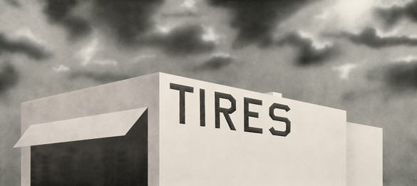 Ed Ruscha, Blue Collar Tires, 1992, acrylic on canvas, 54 × 120 inches (137.2 × 304.8 cm). Museo Nacional Centro de Arte Reina Sofía, Madrid