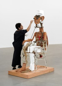 Huma Bhabha during the installation of Huma Bhabha: The Company at Gagosian, Rome, September 2019.