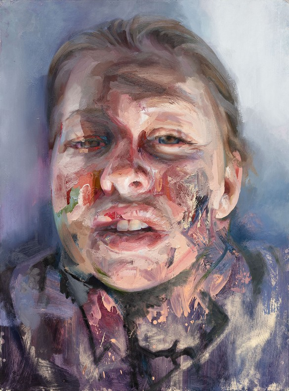Jenny Saville, Self-Portrait (after Rembrandt), 2019, oil on paper, 54 ⅛ × 40 inches (137.5 × 101.5 cm) © Jenny Saville