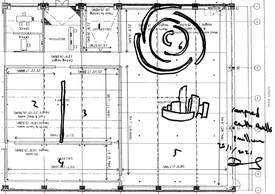 Early preparatory drawing for the installation of Asaase, a sculpture by David Adjaye.