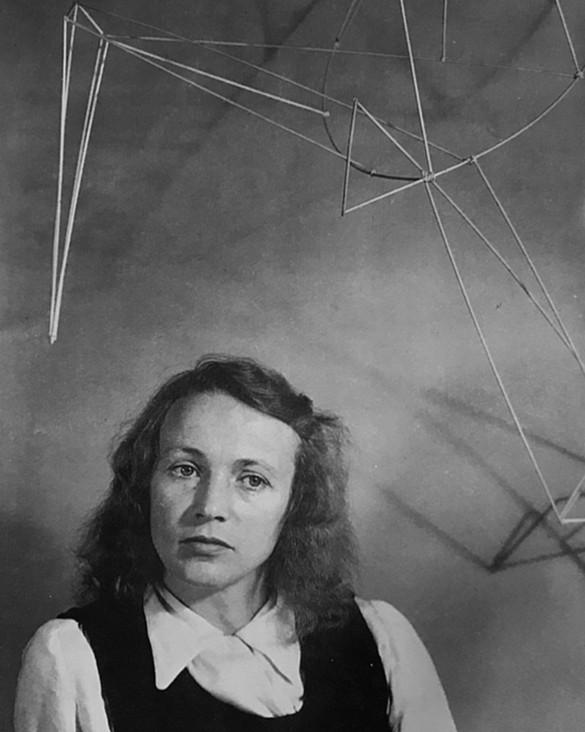 Isabelle Waldberg, with Construction (1943), in her studio, New York, 1943. Photo: H. Brammer
