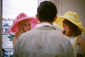 Catherine Deneuve, Jacques Demy, and Françoise Dorléac on the set of Demy's The Young Girls of Rochefort (1967)