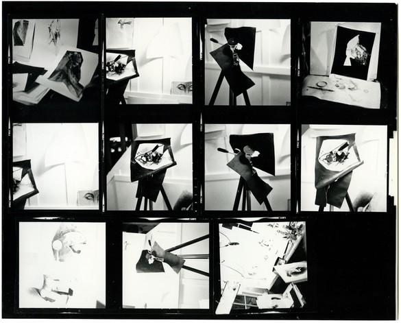 Jay DeFeo, contact print of photographs taken in her studio in Larkspur, California, 1976