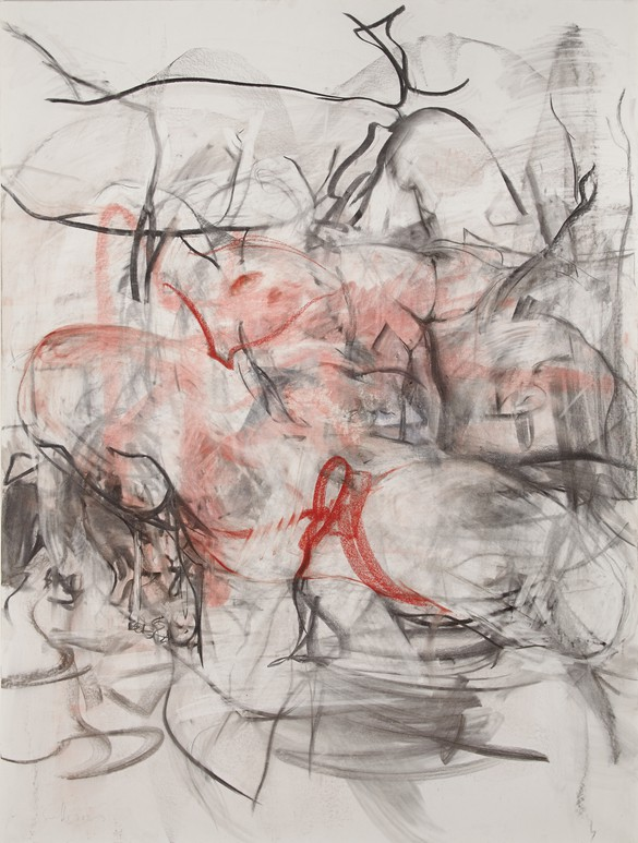 Jenny Saville, Reflective Flesh study (Red), charcoal and pastel on paper, mounted on board, 78 ¾ × 60 inches (200 × 152 cm)
