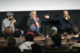 Carlos Valladares, Jerry Schatzberg, and Harmony Korine at Metrograph, New York.