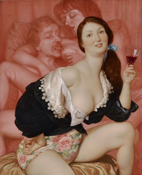 John Currin, Chateau Meyney, 2013, oil on canvas, 42 × 34 inches (106.7 × 86.4 cm)
