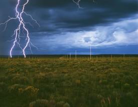 Walter De Maria, The Lightning Field, 1977, long-term installation, western New Mexico. Artwork © Estate of Walter De Maria. Photo: John Cliett, courtesy Dia Art Foundation, New York, and © Estate of Walter De Maria