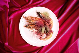 Plated prawns on table cloth of hot pink velvet