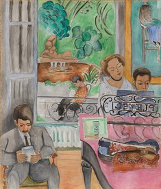 Henri Matisse, The Music Lesson, 1917, oil on canvas, domestic interior scene of people in the livingroom at the piano, reading chair, and window