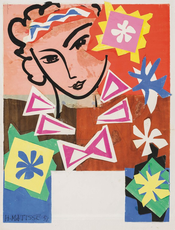 Henri Matisse, Madame de Pompadour, 1951, painted, cut, and pasted paper, brush and ink, 35 × 29 inches (88.9 × 73.7 cm) © 2017 Succession H. Matisse/Artists Rights Society (ARS), NY.