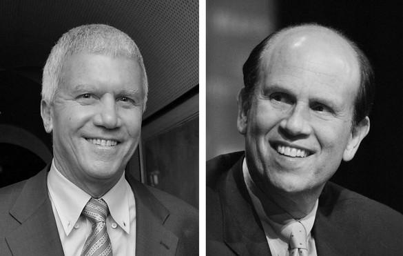 Left: Larry Gagosian; right: Mike Milken
