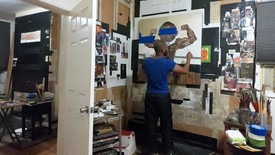 Nathaniel Mary Quinn in his studio