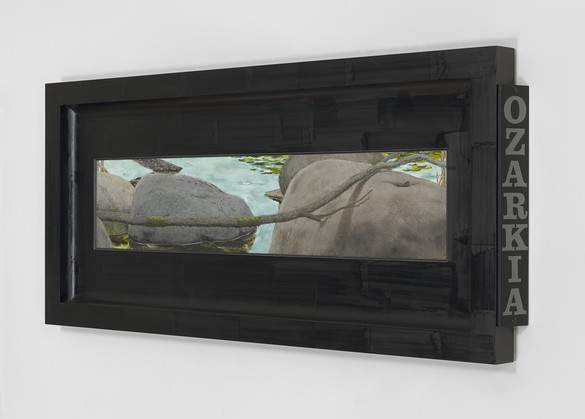 Neil Jenney, Ozarkia, 2014, oil on canvas in artist's frame, 28 × 64 × 3 ⅜ inches (71.1 × 162.6 × 8.6 cm). Photo: Tom Powel Imaging