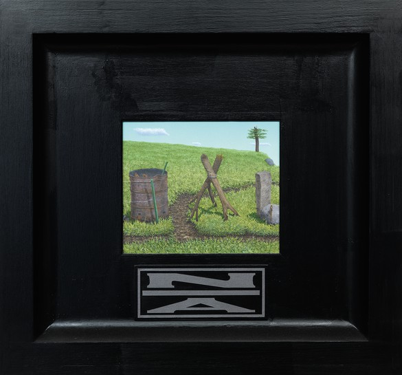 Neil Jenney, North America Divided, 2001–06, oil on wood in artist's frame, 26 ¼ × 28 ¼ × 2 ¾ inches (66.7 × 71.8 × 7 cm)