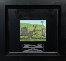 Neil Jenney, North America Divided, 2001–06, oil on wood in artist's frame, 26 ¼ × 28 ¼ × 2 ¾ inches (66.7 × 71.8 × 7 cm).