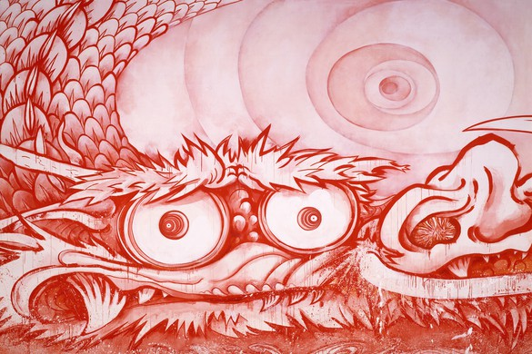 "Takashi Murakami, Dragon in Clouds-Red Mutation: The version I painted myself in annoyance after Professor Nobuo Tsuji told me, ""Why don't you paint something yourself once?,"" 2010 (detail), acrylic on canvas, 144 ½ × 708 ¾ inches (367 × 1800 cm)"