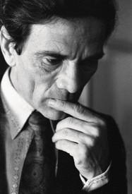 A portrait of Pier Paolo Pasolini.