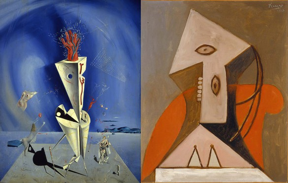 Left: Salvador Dalí, Apparatus and Hand, 1927. Collection of The Dalí Museum, Inc., St. Petersburg, FL. © Salvador Dalí. Fundació Gala-Salvador Dalí, [Artist Rights Society (ARS)], 2014Right: Pablo Picasso, Femme dans un fauteuil rouge, 1929 © 2014 Estate of Pablo Picasso/ARS, NY/The Menil Collection, Houston, TX.