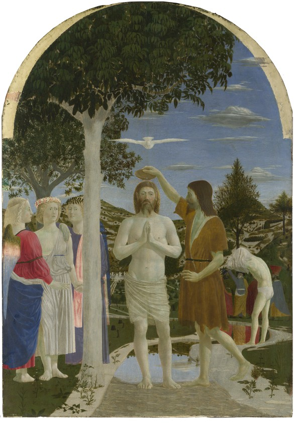 Piero della Francesca, The Baptism of Christ, after 1437, egg on poplar, 65 ¾ × 45 ⅝ inches (167 × 116 cm), National Gallery, London. Photo: © National Gallery, London/Art Resource, New York