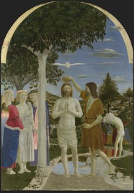 Piero della Francesca, The Baptism of Christ, after 1437, egg on poplar.