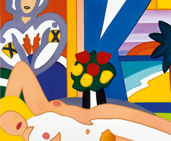 Tom Wesselmann, Sunset Nude with Matisse, 2002, oil on canvas, 66 × 80 inches (167.6 × 203.2 cm)