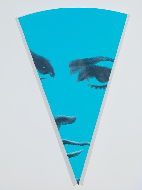 Richard Phillips, Blue Sector Medium, 2015, oil and wax emulsion on linen, 72 × 44 ½ inches (182.9 × 113 cm). Photo by Rob McKeever