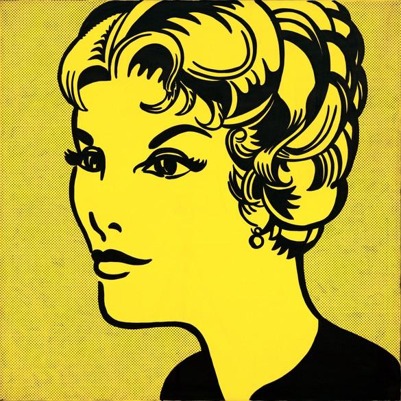 Roy Lichtenstein, Head: Yellow and Black, 1962, oil on canvas, 48 × 48 inches (122 × 122 cm) © Estate of Roy Lichtenstein