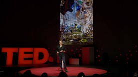 Video still of Sarah Sze speaking at a TED conference, Vancouver, BC, April 2019.
