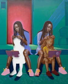 Titus Kaphar, Braiding possibility, 2020, Oil on canvas, 83 3/4 × 68 inches (212.7 × 172.7 cm)