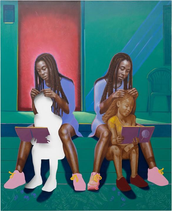 Titus Kaphar,Braiding possibility, 2020, oil on canvas, 83 ¾ × 68 inches (212.7 × 172.7 cm)