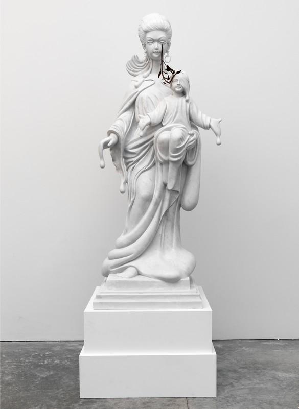 Francesco Vezzoli, Untitled, 2010, marble, wrought iron, 71 × 25 ¾ × 24 inches (180.3 × 65.4 × 61 cm)