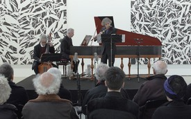 Marc Hantaï, Jerome Hantaï, and Pierre Hantaï performing a concert in the exhibition space for Simon Hantaï at Gagosian, Le Bourget