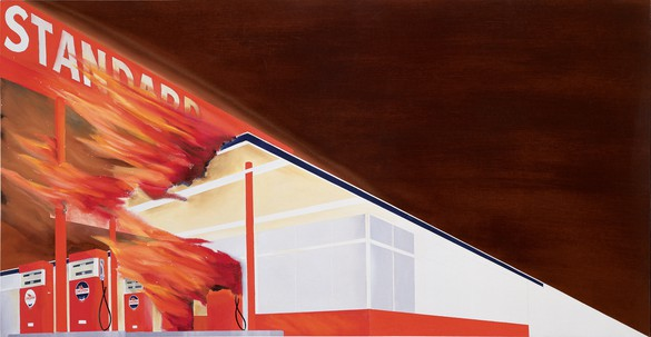 Ed Ruscha, Burning Gas Station, 1965–66, oil on canvas, 20 ½ × 39 inches (52.1 × 99.1 cm) © Ed Ruscha