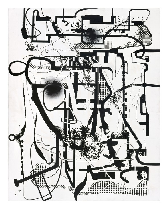Albert Oehlen, Untitled, 1992, screen print, acrylic, and oil on canvas, 109 ½ × 86 ¼ inches (278 × 219 cm) © Albert Oehlen