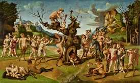 Piero di Cosimo, The Discovery of Honey by Bacchus, c. 1499, oil on panel, 31 ½ × 50 ⅝ inches (80 × 128.5 cm). A horizontal painting depicting a large a crowd of satyrs around a tree.