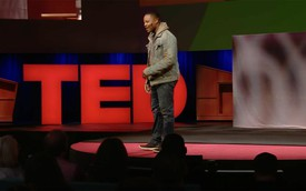 The artist Titus Kaphar giving a TED talk