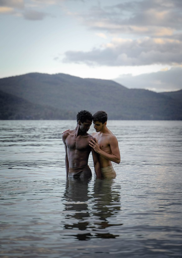 Calvin Royal III and João Menegussi in rehearsal for Touché (2020), choreographed by Christopher Rudd, Silver Bay, New York, 2020. Photo: Christopher Rudd and João Menegussi