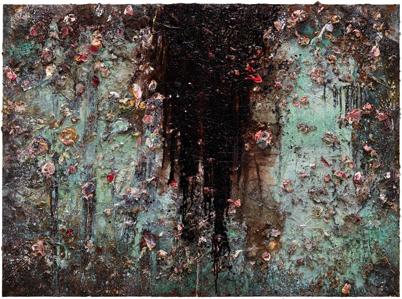 Anselm Kiefer, Aurora, 2015–17, oil, emulsion, acrylic, shellac, and sediment of an electrolysis on canvas, 110 ¼ × 149 ⅝ × 3 ⅝ inches (280 × 380 × 9 cm)