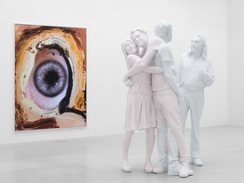 Installation video of Urs Fischer's exhibition, Leo. A painting of an eye and a sculpture of three humans.