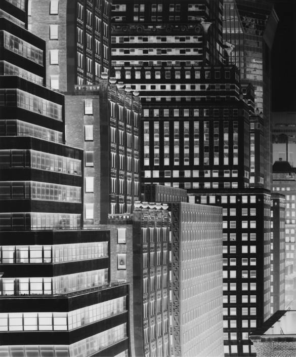 Vera Lutter, Chrysler Building: June 14, 2014, 2014, unique gelatin silver print, 24 × 20 inches (61 × 50.8 cm)