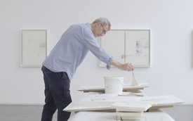 Edmund de Waal working in his studio.