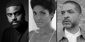 Left: Kevin Beasley. Photo: David Schulze. Center: Alicia Hall Moran. Right: Jason Moran. Photo: Ari Marcopoulos